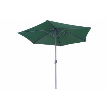 Kovový zahradní slunečník s klikou, kulatý, bez střapců, 3m, tmavě zelený