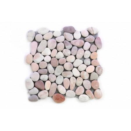 Obklad / dlažba - mozaika na síťce venkovní / vnitřní, pravý kámen- oblázky béžové, 1x síťka
