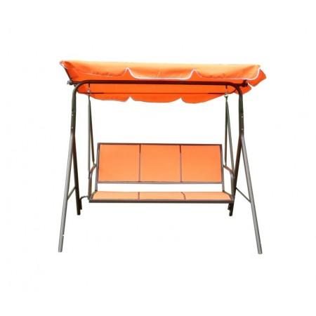 Rodinná zahradní houpačka se stříškou, kov / textilie, oranžová