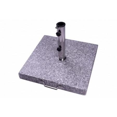 Těžký žulový podstavec na slunečník ozdobný - šedá žula, čtvercový, 40 kg