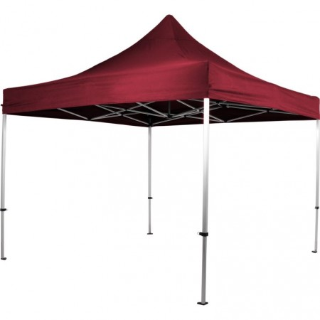 Hliníkový skládací párty stan s textilní střechou, bez stěn, 3x3 m, vínový
