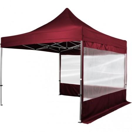 Hliníkový skládací párty stan s textilní střechou, 2 stěny, 3x3 m, vínový