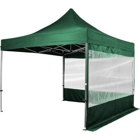 Hliníkový skládací párty stan s textilní střechou, 2 stěny, 3x3 m, tmavě zelený