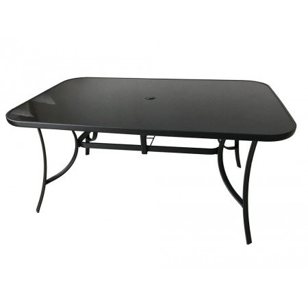 Obdélníkový zahradní stůl kovový + černé sklo, otvor na slunečník, 150x90cm