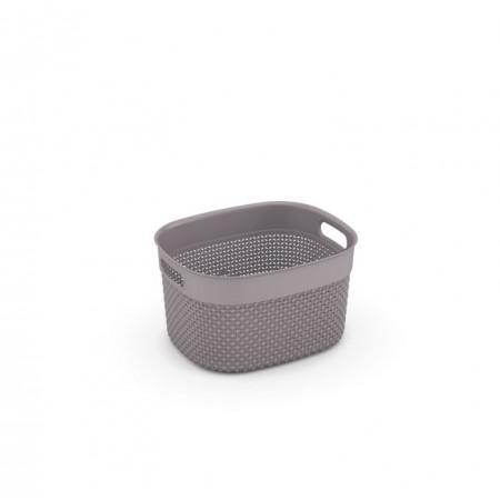 Plastový košík pro uložení drobností v domácnosti, hnědošedý, 27x15x22 cm