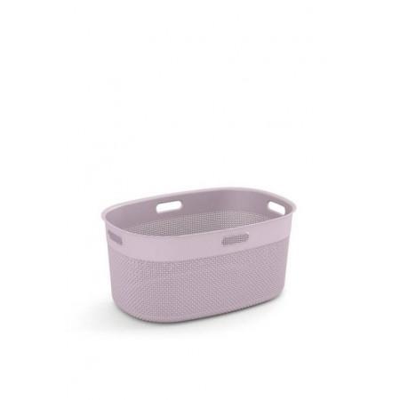 Plastový oválný koš na čisté prádlo růžový, 45 L, 59x39x27 cm