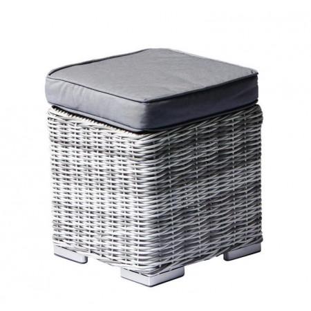 Luxusní zahradní taburet s polstrováním, béžová / šedá, 40x40x40 cm