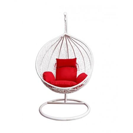 Designové závěsné houpací křeslo do interiéru - exteriéru, bílá / červená