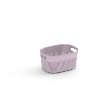 Úložný plastový dekorativní košík do domácnosti, úchyty, 24x18x12 cm, růžový