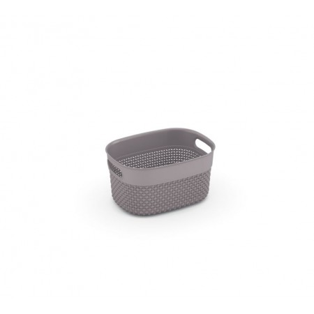 Úložný plastový dekorativní košík do domácnosti, úchyty, 24x18x12 cm, hnědošedý
