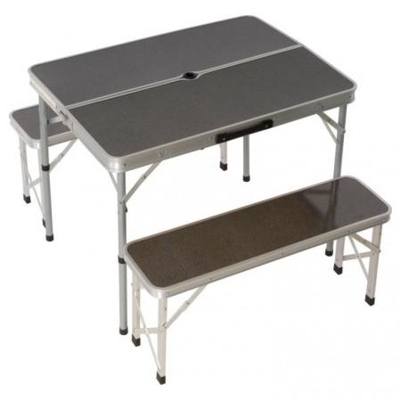 Rodinný set kempinkového nábytku, stůl + 2 police, hliník / MDF