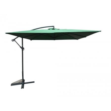 Boční designový slunečník na zahradu / terasu, čtvercový, 2,7x2,7 m, s podstavcem, zelený