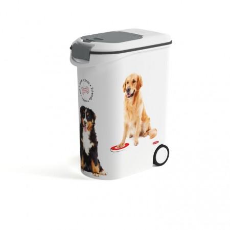 Velká úložná nádoba na krmivo pro psy, s kolečky, 20 L