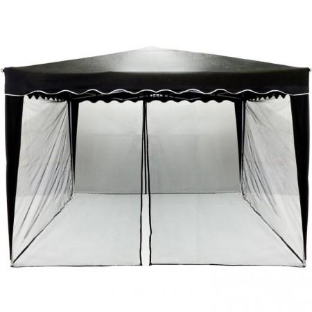 Ochranná síť proti komárům a létajícímu hmyzu pro párty stany 3x3 m, černá, se zipem