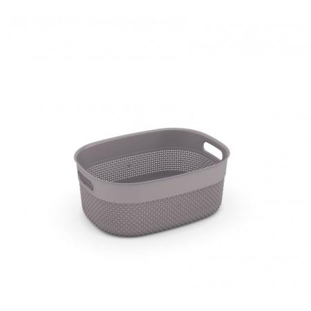 Organizér - úložný plastový košík do domácnosti, bez víka, hnědošedý, 38x29x15cm cm