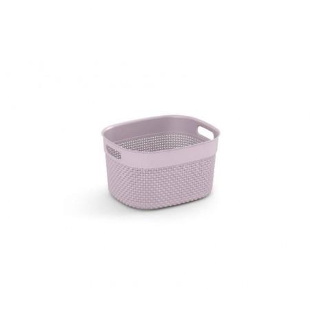 Organizér - úložný plastový košík do domácnosti, bez víka, růžový, 27x22x15cm cm