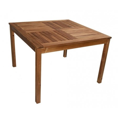 Venkovní dřevěný čtvercový stůl, masivní dřevo akácie, 110x110 cm