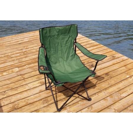 Skládací židle s ocelovým rámem, tmavě zelená