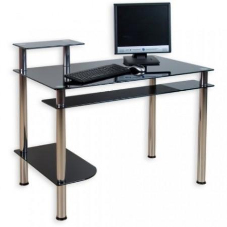 Designový kancelářský stůl se skleněnou deskou - černá