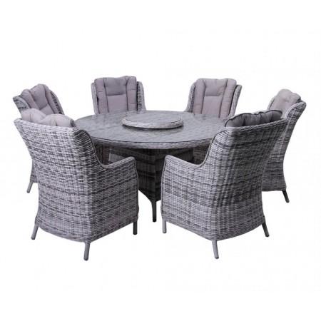Luxusní zahradní sedací souprava pro 6 osob, kulatý stůl, šedá / krémová