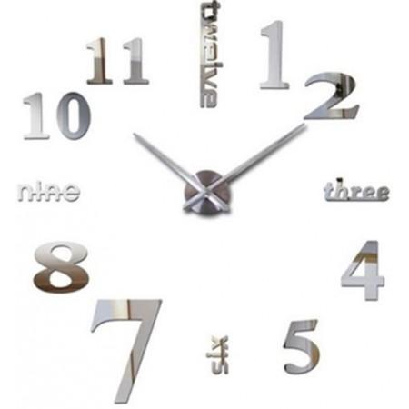 Velké designové hodiny na stěnu samolepící Miami, stříbrné, průměr 70-120cm