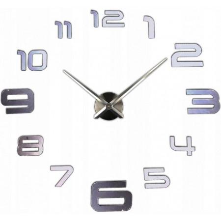 Samolepící hodiny na stěnu Orlando, velké stříbrné číslice, průměr 70-120 cm