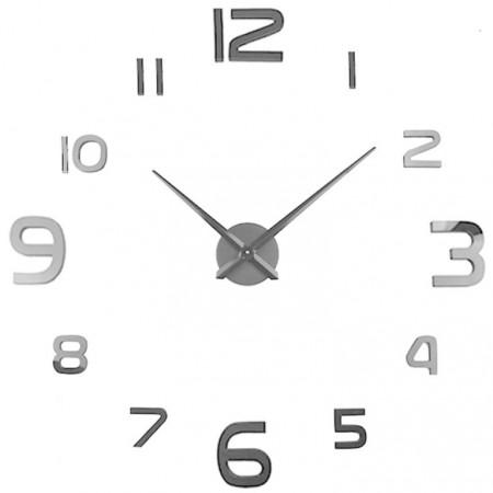 Designové nalepovací hodiny na stěnu, stříbrné, průměr 70-120 cm