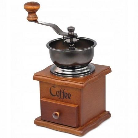 Designový mlýnek na kávu s ruční klikou, kov / dřevo, 21 cm