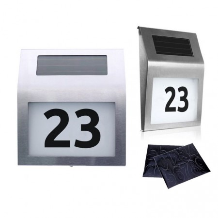 Domovní číslo se solárním osvětlením, nerez, 18x20x3 cm
