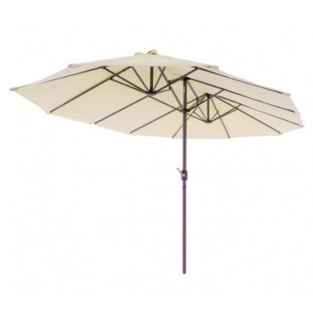 Velký oválný slunečník pro obdélníkové stoly, ruční klika, 4,65x2,7m, krémový