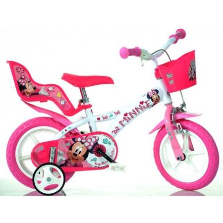 Dětské kolo 14 s balančními bočními kolečky, od 4 let, růžová /bílá, potisk Minnie