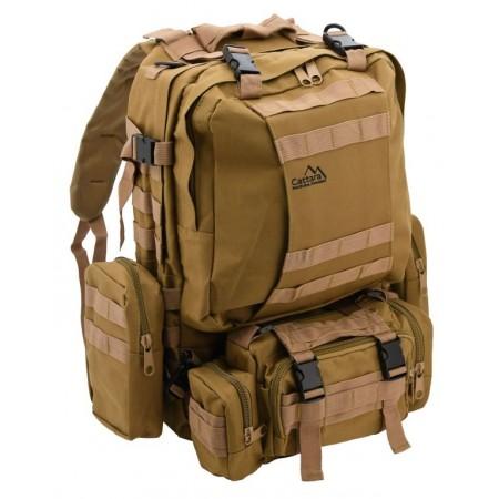 Velký turistický batoh Army s přídavnými kapsami, hnědý, 55L