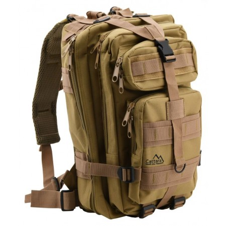 Turistický batoh ve vojenském vzhledu, 9 kapes, hnědý, 30L
