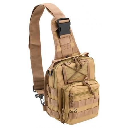 Batoh na rameno ve vojenském vzhledu, 3 kapsy, hnědý, 10L