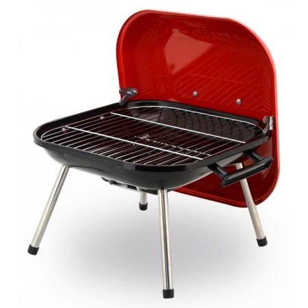 Malý piknikový přenosný gril na dřevěné uhlí, 36x37 cm, červená / černá
