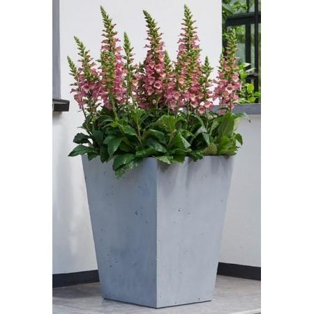 Venkovní plastový květináč v imitaci betonu, šedivý, čtvercový kónický, výška 55 cm