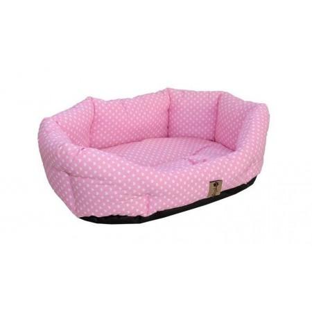 Pelíšek pro malé psy, duté vlákno, růžový s tečkami, 50x40 cm