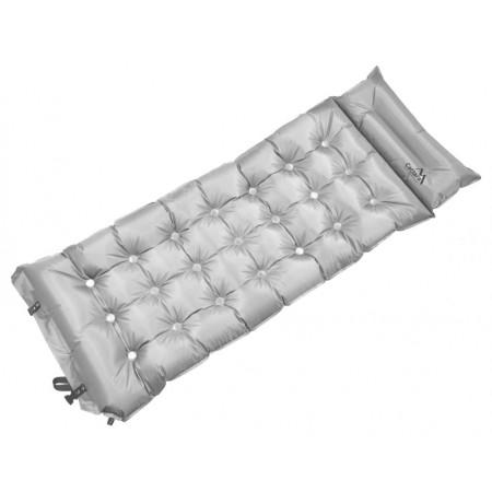 Samonafukovací karimatka s polštářem, šedá, 188x66x6cm