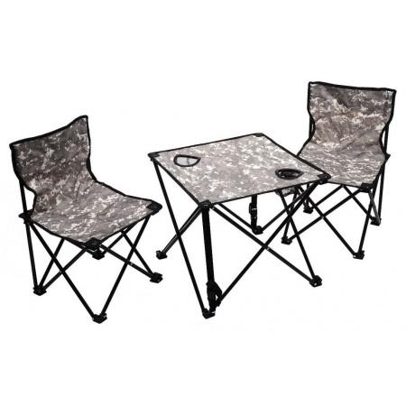Set kempinkového nábytku, 2 židle + stůl, maskáčový vzor