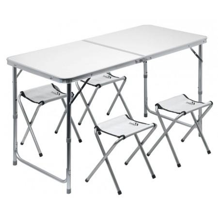 Rodinný skládací set kempinkového nábytku- stůl + 4 židličky