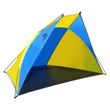 Lehký plážový stan s otevřeným čelem, modrá / žlutá, 200x120x120 cm