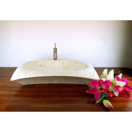 Designové umyvadlo z přírodního kamene, mramor, uvnitř broušené