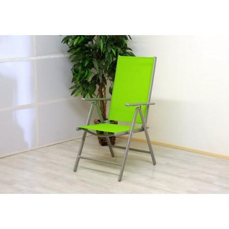 Zahradní skládací polohovatelná židle - zelená