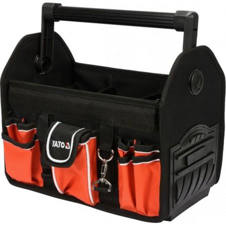 Odolná textilní taška na nářadí s kovovou rukojetí, 11 kapes, 34x28x22cm