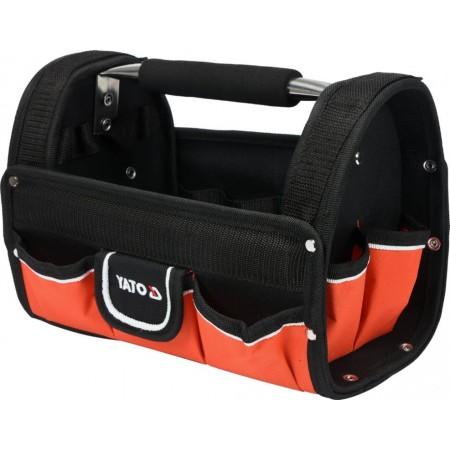 Odolná textilní taška na nářadí s kovovou rukojetí, 9 kapes, 31x22x19cm