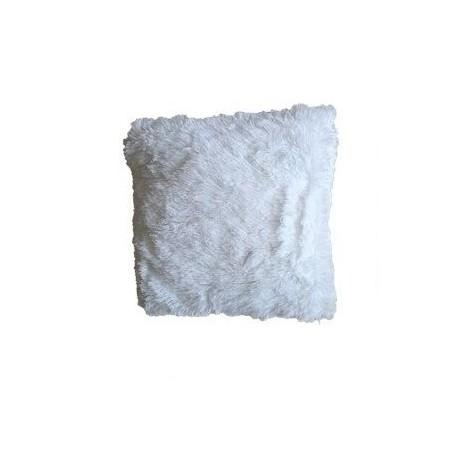 Ozdobný povlak na polštář s dlouhým chlupem, bílý, 40x40 cm