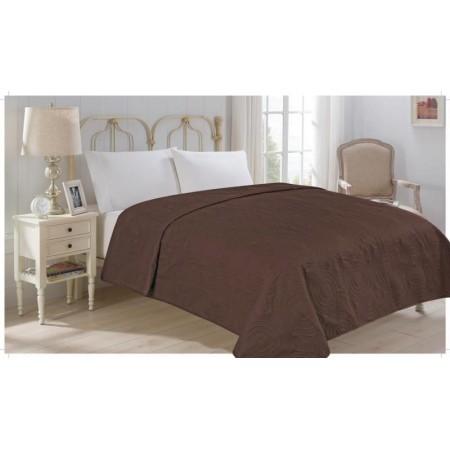 Přehoz přes postel na dvoulůžko, hnědý, 100% polyester, 220x240 cm