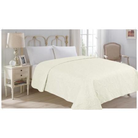 Přehoz přes postel na dvoulůžko, béžový, 100% polyester, 220x240 cm