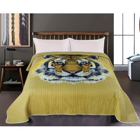 Přehoz přes postel na jednolůžko, potisk tygr, 100% polyester, 140x220 cm