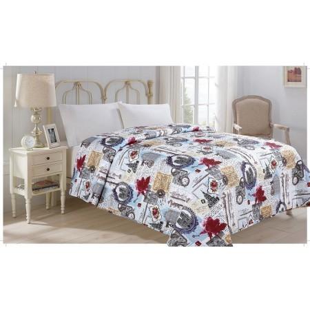 Přehoz přes postel na jednolůžko, potisk city, 100% polyester, 140x220 cm
